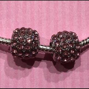Jewelry - NEW•Pink crystal silver DIY spacer/charms set of 2